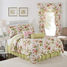 Waverly Emma's Garden Quilt Set - Full-Queen (Pink & Green Floral) by Waverly Bedding. Twin Quilt, Quilt Bedding, Bedding Sets, Chic Bedding, Floral Bedding, Comforter Set, Quilt Pillow, Pink Bedding, Cotton Bedding