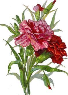Larger Victorian Scrap Carnation Bouquet Die Cut c1880