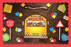 Welcome Back To School Bulletin Boards Ideas - Bing Images Bulletin Board Design, Fall Bulletin Boards, Back To School Bulletin Boards, Library Bulletin Boards, Preschool Bulletin Boards, Bullentin Boards, Class Decoration, School Decorations, Energy Bus
