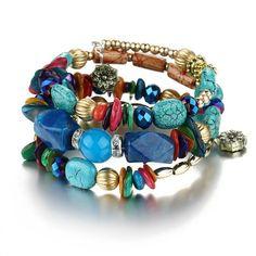 71ccf7abd9 Boho Natural Stone Beads Wrap Bracelet. Beaded Wrap BraceletsBohemian  BraceletsLayered BraceletsCharm BraceletsFashion ...