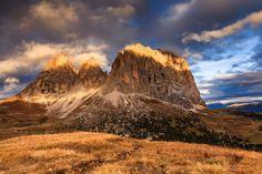 'Burning Sassolungo' by LubosBalazovic Landscape Photos, Monument Valley, Burns, Mountains, Nature, Travel, Animals, Naturaleza, Viajes