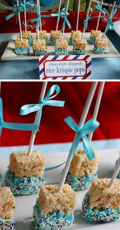 Rice Krispie Treat Pops | Click Pic for 21 DIY Baby Shower Ideas for Boys | DIY Baby Shower Party Favors for Boys #babyshowergifts