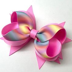 Rainbow Bow Boutique Bows Fabric Bows Ribbon Bows Baby Headbands Toddler Hair Accessories Bow Design Diy Bow How To Make Bows Big Hair Bows, Ribbon Hair Bows, Making Hair Bows, Stacked Hair, Baby Girl Hair Accessories, Boutique Hair Bows, How To Make Ribbon, Fabric Bows, Diy Bow