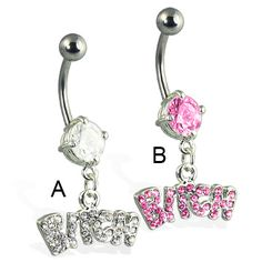 Jeweled bitch belly button ring on MsPiercing Belly Button Piercing Rings, Bellybutton Piercings, Belly Button Jewelry, Belly Rings, Bff Necklaces, Pretty Necklaces, Belly Bars, Body Jewelry, Jewellery