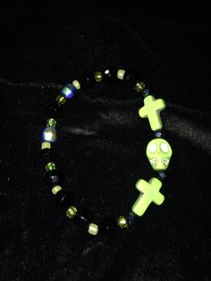Lime green and black HALLOWEEN stretch bracelet $5.00