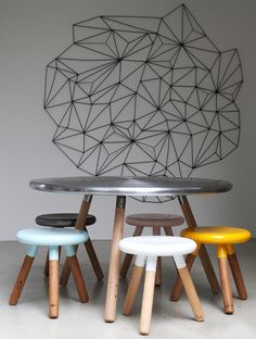 I'm dying to know what is on that wall... SO rad!  (Stools at LifeSpaceJourney)