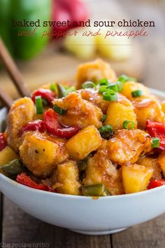 Sweet and Sour Chicken with Peppers and Pineapple