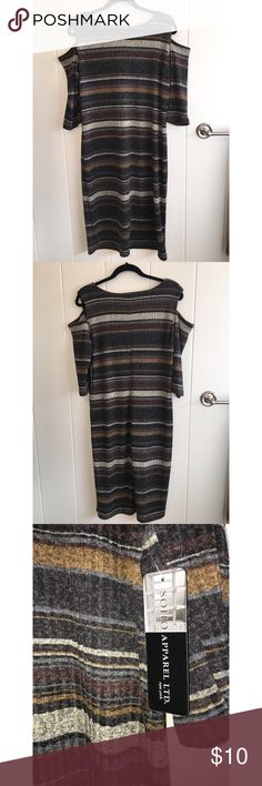 NWT SOHO Apparel Knitted Shoulder Cut Out Dress Stripped, knitted, stretchy dress with shoulder cut outs. Brand new, with tags. Size: XL Soho Apparel Dresses Midi