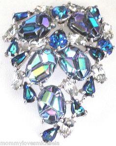 SCHIAPARELLI Amazing Molded Blue AB Rhinestone Vintage Pin | eBay
