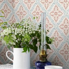 Based on a beautiful stencil pattern painted in our Nyborg wallpaper mingles three vividly lovely colours to create a truly enchanting end result. With its blue and terracotta patterns perfectly offset by their pale background, its rustic tones cre Wallpaper Uk, Kitchen Wallpaper, Wallpaper Online, Wallpaper Samples, Designer Wallpaper, Pattern Wallpaper, Wallpaper Ideas, Blue Colour Palette, Colour Schemes