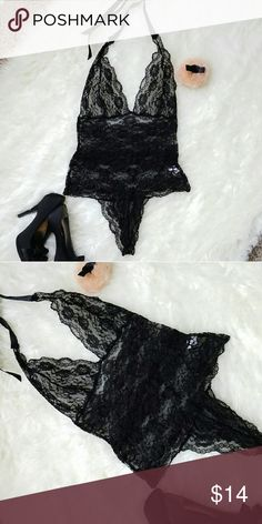 Halter Style Lace Teddy Lingerie NWOT. Black lace teddy with ribbon halter tie. Thong style. Lace is soft and stretchy. Not scratchy! Only tried on, never wore. Intimates & Sleepwear