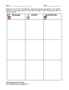 This handout provides your students practice in determining author's purpose.  Students will read 9 short text passages and glue them under the cor...