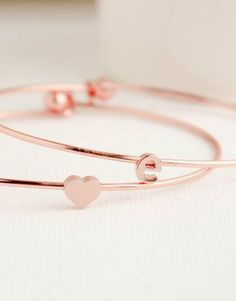 Rose gold bangles to layer