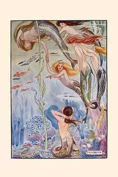 Six mermaids play in the undersea gardens. #vintagemermaid