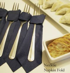 Cute for father's day brunch - Necktie Napkin Wrap