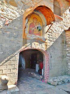 Esfigmenou Monastery-Mt. Athos, Greece Religious Icons, Religious Art, Church Icon, Greece Pictures, Byzantine Art, Church Architecture, Christian Church, Place Of Worship, Greece Travel