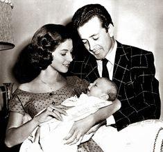 TWINS: Pier Angeli her husband Vic Damone, and their son Perry. Yvonne De Carlo, Metro Goldwyn Mayer, Gina Lollobrigida, Kirk Douglas, Gene Kelly, Lana Turner, Paul Newman, James Dean, Hollywood Couples