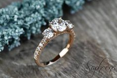 yasssss!!!!! Rose Brilliant Three Stone Round Accent Engagement Ring in 14k