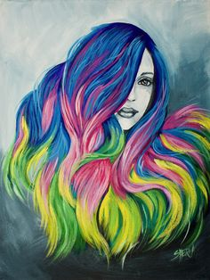 Learn to paint Unicorn Hair Acrylic painting Painting inspired by Guy Tang by The Art Sherpa www.theartsherpa.com #mydentity #hairbestie #guytang #unicornhair #artsherpa #trysomthingnew #bebrave