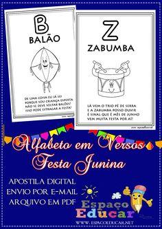 Alfabeto Festas Juninas com versos para colorir e ler! A venda na Loja do Espaço Educar! - ESPAÇO EDUCAR