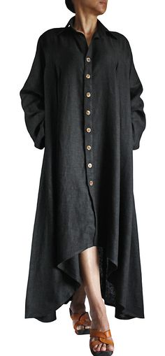 Soft Hemp Long Dress Coat JNN06701 by SawanAsia on Etsy, ¥15990