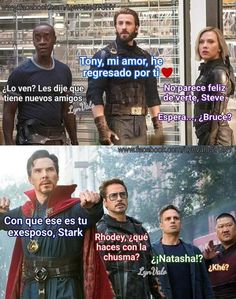 Read Chusma from the story Shipps Marvel (Imagenes & Comics) by Mrmiau-HMR (Jüda) with reads. Marvel 3, Marvel Universe, Marvel Funny, Avengers Memes, Avengers Imagines, Avengers Cast, Morning Humor, Humor Mexicano, Funny Texts