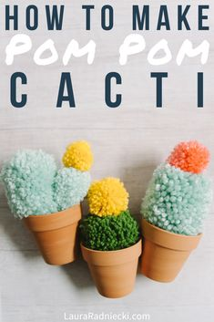 Here's how to make easy diy faux cactus with yarn pom poms! Yarn Crafts For Kids, Diy Crafts For Teens, Camping Crafts, Diy Craft Projects, Creative Crafts, Diy Crafts For Kids, How To Make Crafts, Crafts To Do When Your Bored, Easy Yarn Crafts