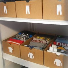 When tidying gets creative! Simple cardboard shoeboxes get a whole new look and function for this boy's #tidy closet.  Via @heidikristak #konmarimethod #sparkjoy #newyearsresolution #declutter #closet #clothes #lifechanging #magic