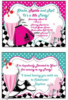 Grease, 50s Personalized Invitation, Thank You Card and Double Sided Envelope