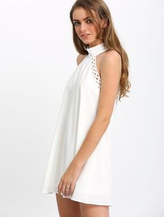 Online shopping for Cream Cutaway Bow-tie lattice crochet Shift Dress from a great selection of women's fashion clothing & more at MakeMeChic.COM.
