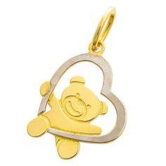 Pendentif nounours coeur (or jaune 18ct) (Mon Premier Bijou) sur PremierCadeau.com