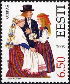 Otepää,  Estonian folk costumes by Mari Kaarma, stamp from Estonia,2003