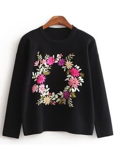 Black Crew Neck Owl Embroidered Sweatshirt With Cape 30.56