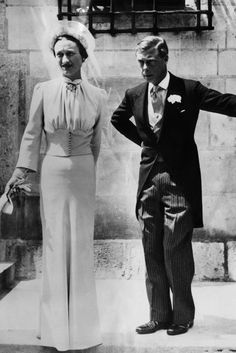 """Wallis Simpson Fashion & Style Icon (Vogue.com UK)   British Vogue - JUNE 3 1937 - Simpson wore a dress in """"Wallis blue"""" by Mainbocher for her wedding to Prince Edward, at the Château de Candé, France. She gave the dress to New York's Metropolitan Museum of Art in the Fifties."""