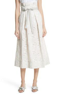 Main Image - Rebecca Taylor Garden Eyelet Linen Skirt