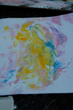 Marble art- (all you need is shaving cream and food coloring ...