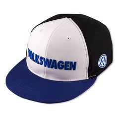 "Volkswagen Accessories Blue Black White Bill Cap Hat WITH Embroidered ""VW"" Logo #Volkswagen #Hat"