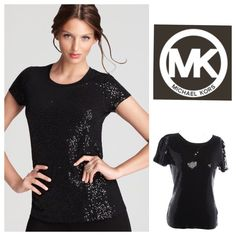 """Michael Kors Black Sequin Top Super fun black sequined top from Micheal Kors. Scoop neck and sewn on sequins all over! Pair with skinny jeans or black leggings & heels for a night out! This fun & flirty top will surely make heads turn!  Size Medium.  Measurements relaxed: Bust: 31"""" (to 38"""" gently stretched), Length: 24"""" long  Black Sequins on front & back 100% Cotton Hand Wash Cold Inside Out Bundle & save!  Trades  PayPal Michael Kors Tops"""