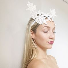 White lace crown   headpiece by Alea Headpieces. Perfect millinery    fascinator for the races or bridal event  hens night or bridal shower. 53d186e61df