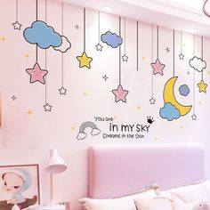 Bedroom Wall Stickers Living Room Background Wall Decoration Wall Painting Dining Room Decoration Wallpaper Mural Kids Room Wall Art Visit the post for more. Dining Room Wall Art, Room Wall Decor, Baby Room Decor, Bedroom Decor, Girls Bedroom Mural, Kids Wall Decor, Kids Room Murals, Kids Room Paint, Kids Room Wall Art