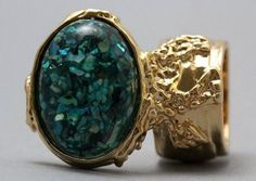 Arty Oval Ring Turquoise Mosaic Shell Gold Artsy Designer Chunky Knuckle Art Statement Size 7.5 @modtoast