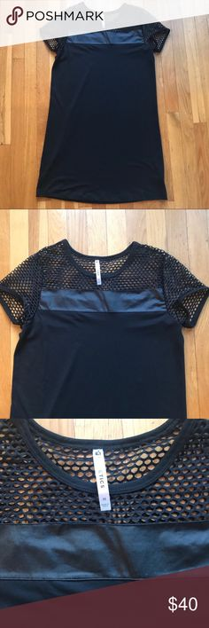 Fabletics Fishnet & Vegan Leather Dress Fabletics Fishnet Black Dress Size Medium  - rare fishnet and faux leather accent dress - Little Black Dress - could be worn with sneakers for a casual look or heels for a night out  - Size Medium  - Excellent used condition Tags: festival, concert, short sleeve Bin: 002 Fabletics Dresses