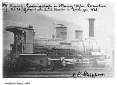 Eine Lokomotive der Hessischen Landesbahn 1870.