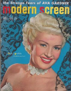 "Betty Grable on the front cover of ""Modern Screen"" magazine, USA, July 1950."