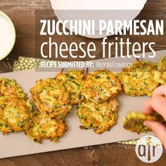 Zucchini-Parmesan Cheese Fritters Great recipe These are delicious Just use as much zucchini as you like sidedishrecipes sides dinnersidedish sidedishes sidedishideas Vegetable Dishes, Vegetable Recipes, Vegetarian Recipes, Healthy Recipes, Healthy Party Snacks, Cheese Fritters Recipe, Cheese Crisps, Cheddar Cheese, Baby Food Recipes