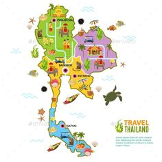 Buy Thailand Map Poster by macrovector on GraphicRiver. Thailand poster with map and picture of main attractions and heritage of the country on white background vector illus. Map Design, Vector Design, Book Design, Graphic Design, Free Vector Images, Vector Free, Thailand Wallpaper, Bujo, World Map Wallpaper