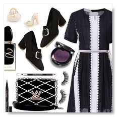 """""""Black and white"""" by simona-altobelli ❤ liked on Polyvore featuring Louis Vuitton, Giorgio Armani, Smith & Cult and The Body Shop"""
