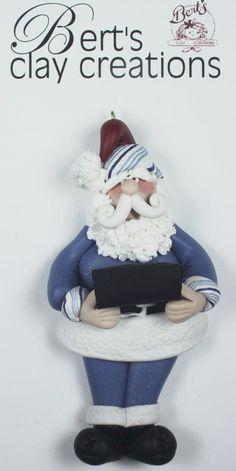 "Blue Santa Ornament - ""Addicted to Facebook"""