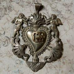 Vintage Silver Ex Voto Sacred Heart