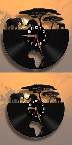 Africa, Elephants Clock, Vinyl Record Wall Clock 12 inch (30cm) / Modern, Animals, Black Wall Art Decor Laser cut of Vintage Vinyl Record